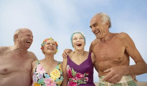 Group of seniors in bathing suits